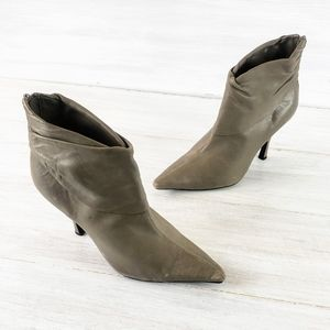 BCBG Paris Leather Pointy Toe Taupe Booties